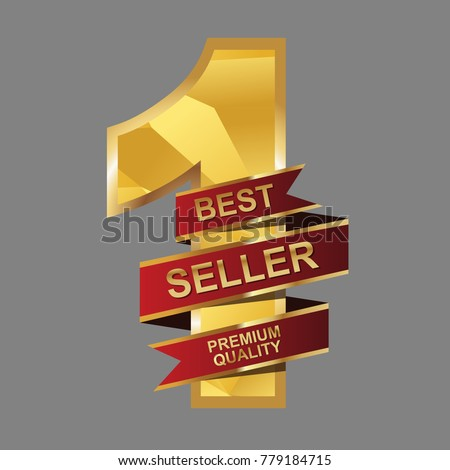 Best Seller red ribbon vector. Number 1. Best seller premium quality.