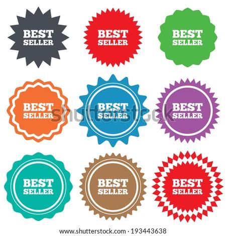 Best seller sign icon. Best seller award symbol. Stars stickers. Certificate emblem labels. Vector