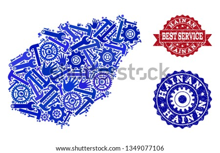 Best service collage of blue mosaic map of Hainan Island and textured stamps. Mosaic map of Hainan Island constructed with gears, spanners, hands. Vector watermarks with unclean rubber texture.
