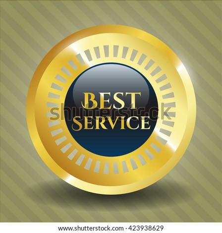 Best Service golden emblem or badge