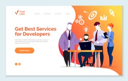 Best services for developers and programmers. People working on business projects or digital data. Teamwork of males and female secretary with laptop. Website or webpage template, landing page vector