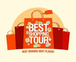 Best shopping tour design template with paper bags.