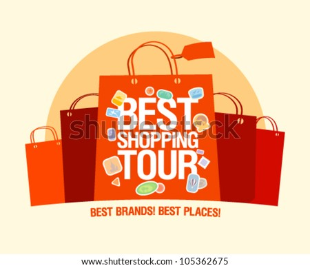 Best shopping tour design template with paper bags. - stock vector