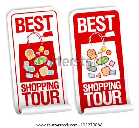 Best shopping tour stickers set.