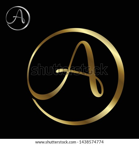 Best simple vector letter A with color gold on the black background. Letter A symbol for your best business icon. Vector illustration EPS.8 EPS.10