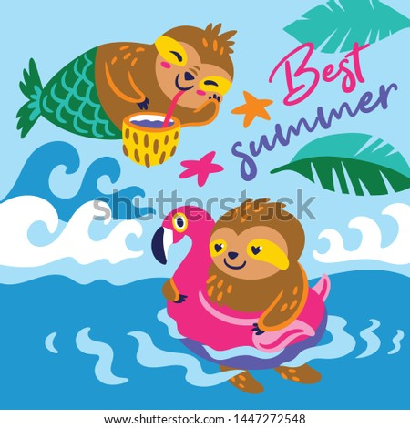 Best summer vector card with a happy characters sloths #1447272548