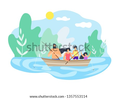 Best Time in Nature on Beautiful Lake Family. Boat Floating Down River Fishing Good Weather Dad Holds Fishing Pole. Healthy Lifestyle in Open Air Children Enjoy Weekend Small Trip in Holiday.