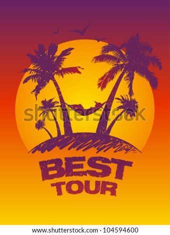 Best tour design template with tropical view.