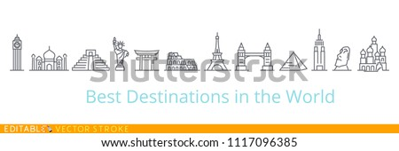Best tourist destinations in the world. Editable vector stroke set icons. USA Russia Europe China England India Egypt.