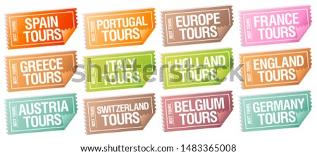 Best tours stickers in form of tickets of different countries