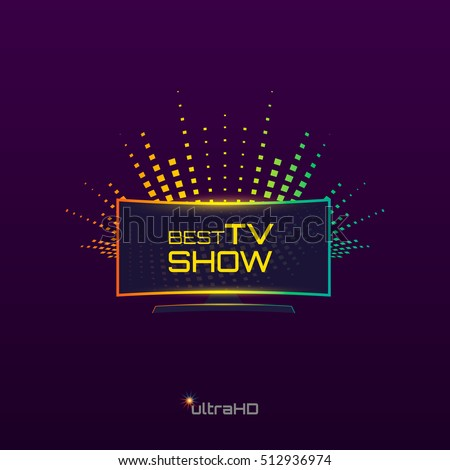 Best Tv Show emblem or logo design. Curved high definition TV. Vector