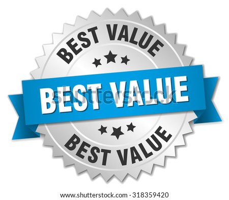 best value 3d silver badge with blue ribbon