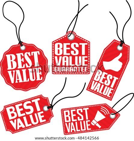 Best value red tag set, vector illustration
