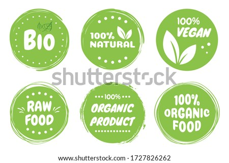 Best vector Set bio, vegan, ecology, organic logos and badges, label, tag. Vector illustration design.