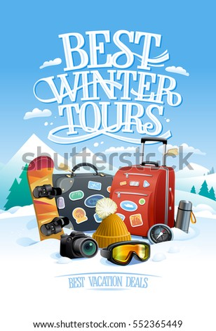 Stock Photo Best winter tours design concept with two big suitcases, snowboard, ski goggles, hat, compass, thermos and camera, against ski resort on a backdrop