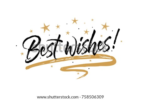 Best wishes card. Beautiful greeting banner poster calligraphy inscription black text word gold ribbon. Hand drawn design elements. Handwritten modern brush lettering white background isolated vector