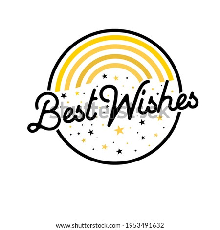 Best wishes card. Beautiful greeting banner poster for best wishes, black text word gold stars. Hand drawn design elements. Best Wishes logo design vector template.  Stock photo ©