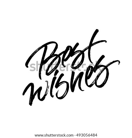 Best wishes Christmas and New Year brush calligraphy isolated on white background