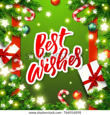 Stock Photo best wishes  - Christmas greeting card. Happy new year. Xmas vector background. Hand drawn calligraphy. concept handwritten