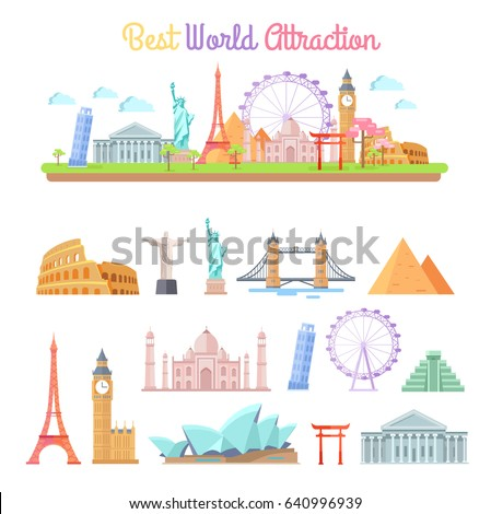 best world attractions vector