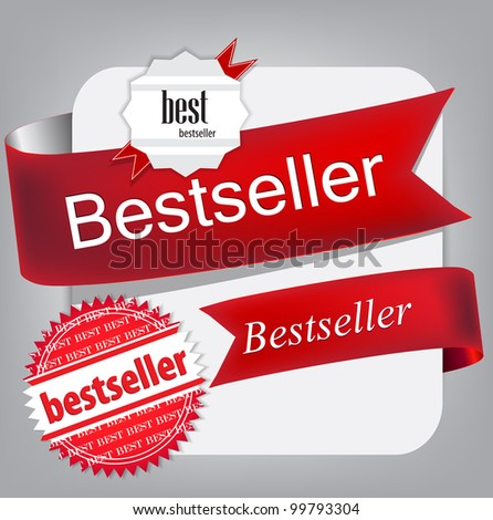 Bestseller. Red banners and labels. Vector set - stock vector