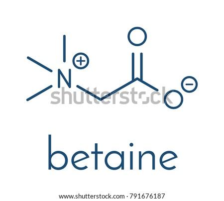 Betaine (glycine betaine, trimethylglycine) molecule. Originally found in sugar beet (Beta vulgaris). Skeletal formula.