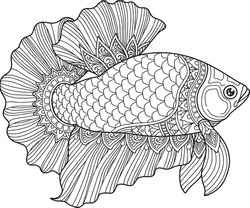 Betta fish coloring page design clear background, mandalas design, and print design