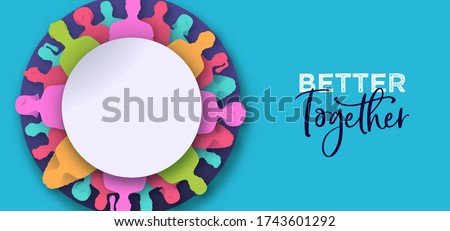 Better together banner illustration. Colorful diverse people circle in modern 3D paper cut craft style. United community or business teamwork concept. Stock foto ©