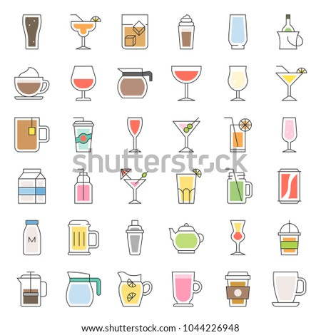 beverage and glass set, filled outline icon vector