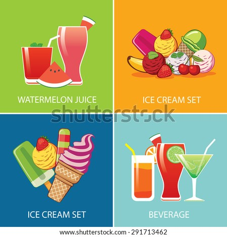 beverage and ice cream for