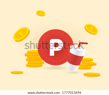 Beverage and Point Payment illustration set. cash, coin, dollar, event.  Vector drawing. Hand drawn style.