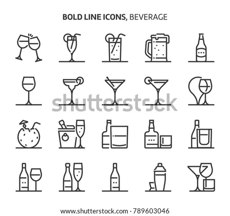 beverage  bold line icons the