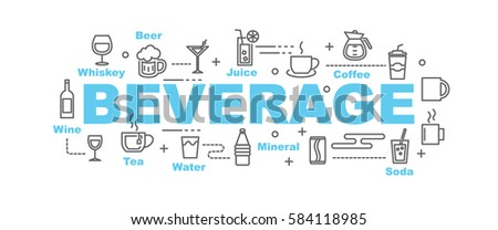 beverage vector banner design concept, flat style with thin line art icons on white background