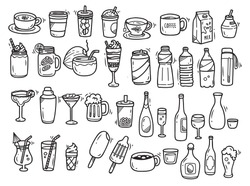 Beverages doodle set on white background