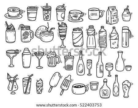 Beverages doodle set on white background