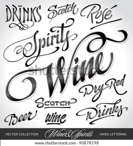 beverages headlines, hand lettering set (vector)