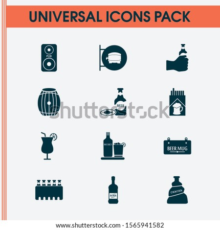 Beverages icons set with liqueur, cocktail, cigarette and other beer in hand elements. Isolated vector illustration beverages icons.
