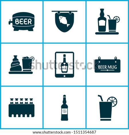 Beverages icons set with liquor, tavern, case of beer and other rum with glassnelements. Isolated vector illustration beverages icons