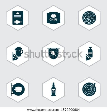 Beverages icons set with pizza with moonshine, pizza with beer, ale sign and other pepperoni elements. Isolated vector illustration beverages icons.