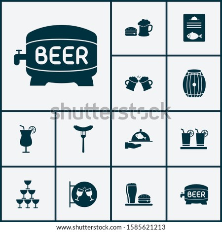 Beverages icons set with spacing, beer mug, nightclub and other martini elements. Isolated vector illustration beverages icons.