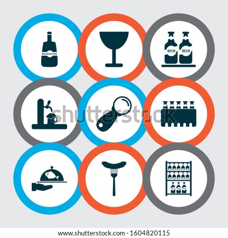 Beverages icons set with whisky, ale, sausage and other beer elements. Isolated vector illustration beverages icons.