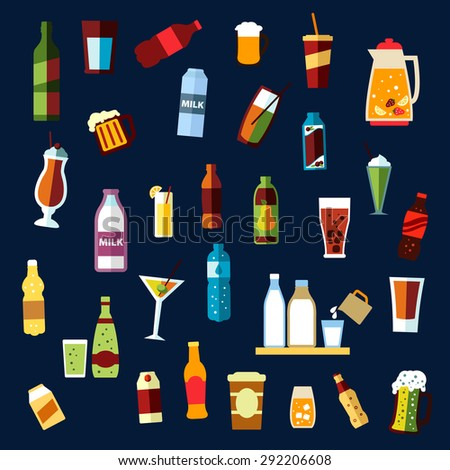 Beverages or drinks non alcoholic and alcoholic drinks with bottles of water, wine, beer, soda, juice, milk, coffee cups, carton packs, ale mugs, jug with fruit punch, cocktail glasses