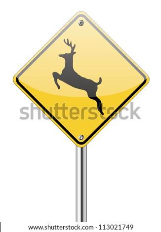 Beware deer crossing sign