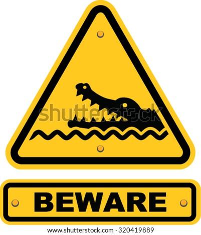 beware of crocodiles sign