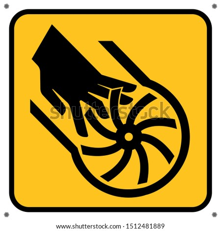 Beware of hand dangers, propellers,Draw from Vector Illustration