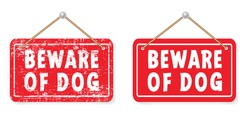 Beware of the dog signboard I love my dogs footprints Animals day Footsteps signs Funny vector woof icon Canine bite symbol Paws footprints Pet paw steps print draw, silhouette doodle No enter board