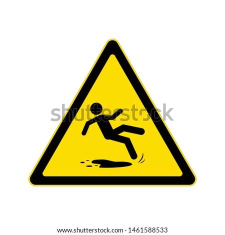 Beware slippery surface sign, Hazard warning symbol