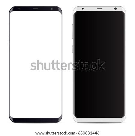 Bezel less smartphone black and white with blank rounded screen. vector eps 10 illustration