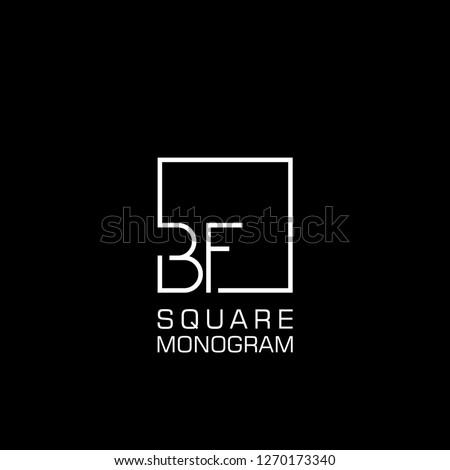 BF B F Logo design with square frame line art. vector illustration Stock fotó ©