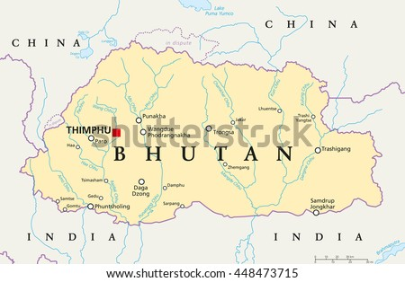 Free vector map of bhutan free vector art at vecteezy bhutan political map with capital thimphu national borders important cities rivers and lakes gumiabroncs Choice Image